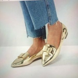 ASOS metallic gold bow detail flats/loafers 8